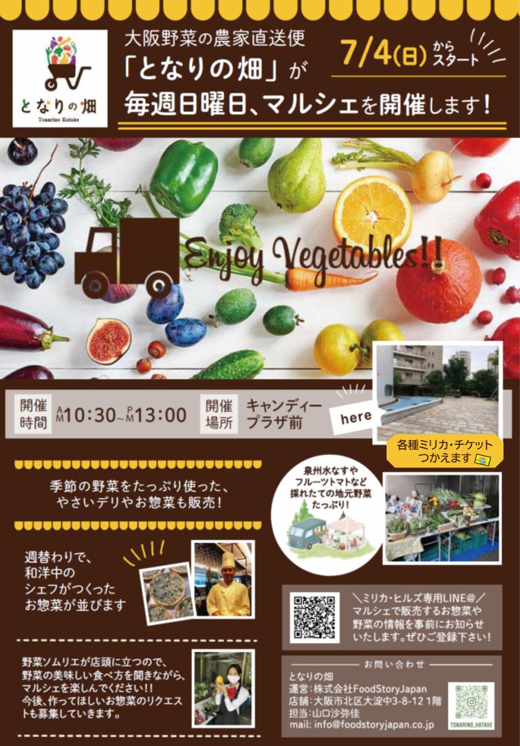 毎週日曜日、大阪野菜のマルシェを開催します